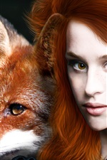 Preview iPhone wallpaper Red haired fantasy girl with animal fox