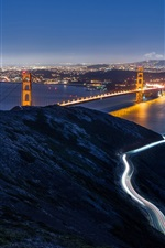Preview iPhone wallpaper San Francisco, California, USA, Golden Gate Bridge, night city