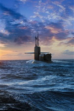 Preview iPhone wallpaper Submarine surfaced, sea, sunset