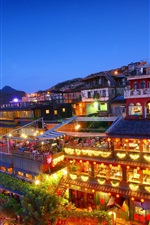 Preview iPhone wallpaper Taiwan, New Taipei City, Jioufen, night, houses, lights