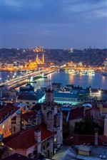 Turkey, Istanbul, city night, houses, lights