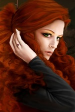 Preview iPhone wallpaper Two brown hair girls, green eyes, art fantasy