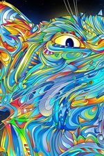 Preview iPhone wallpaper Vector abstract Colorful cat