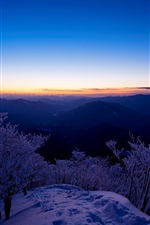 Preview iPhone wallpaper Winter landscape, top view the mountains, snow, trees, sunset