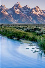 Preview iPhone wallpaper Wyoming, USA, Grand Teton National Park, mountains, river, grass