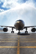 Preview iPhone wallpaper Airbus A330 passenger aircraft, watering, airport