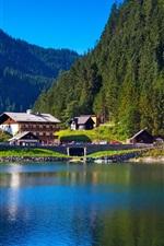 Cumes, montanhas, árvores, lago, casa, natureza verdura