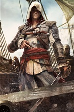 Preview iPhone wallpaper Assassin's Creed 4: Black Flag, ship, ocean