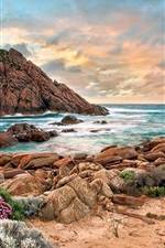 Preview iPhone wallpaper Australia western coast, beach, stones, sunset