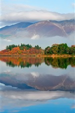 Preview iPhone wallpaper Autumn morning, fog, lake, mountains, forest, water reflection