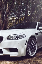 Preview iPhone wallpaper BMW M5 F10 white car in forest