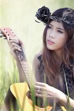 Preview iPhone wallpaper Beautiful asian girl, guitar, music, grass