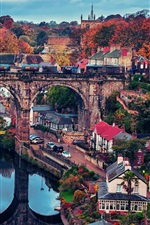 Preview iPhone wallpaper Beautiful town, bridge, house, trees, autumn, river, train