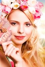 Preview iPhone wallpaper Blonde girl, tulips garland, heart, beach