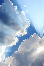 Preview iPhone wallpaper Blue sky, white clouds, sun rays