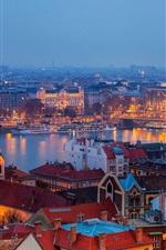 iPhone fondos de pantalla Budapest, Hungría, ciudad, edificios, casas, río, Puente de las Cadenas, luces de noche