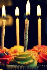 Preview iPhone wallpaper Celebration cupcakes, birthday candles, cream, fire