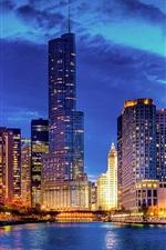 Чикаго, Иллинойс, США, ночной город, небоскребы, здания, река, огни