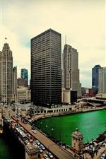 Chicago, Illinois, skyscrapers, water, bridge