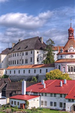 Preview iPhone wallpaper Czech Republic, city, castle, house, river, trees, sky, clouds
