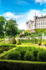 Preview iPhone wallpaper Dunrobin Castle, Scotland, Great Britain, park, sun, sky, clouds, green, grass