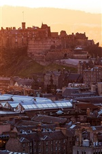 Edinburgh Castle, Scotland, United Kingdom, city, houses, buildings, dawn