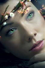 Preview iPhone wallpaper Flower wreath, green eyes girl