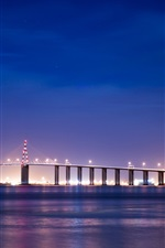 Preview iPhone wallpaper France, Brittany, river, bridge, night lights