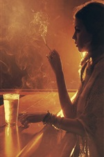Preview iPhone wallpaper Girl drink in the bar