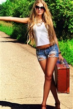 Girl want to hitchhiking