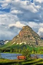 Glacier National Park, lake, mountains, clouds