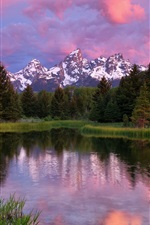 Preview iPhone wallpaper Grand Teton National Park, mountains, lake, trees, forest, water reflection