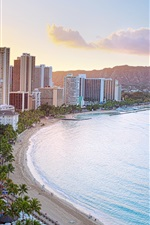Honolulu, Waikiki Beach, Diamond Head Crater, sunrise