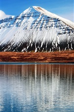 Preview iPhone wallpaper Iceland Hafnarfjall, snowy mountains, water reflection