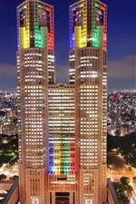 Preview iPhone wallpaper Japan, Tokyo, metropolis, skyscrapers, night, city lights