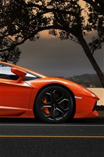 iPhone fondos de pantalla Lamborghini Aventador LP700-4 naranja supercar al atardecer