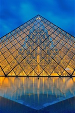 Preview iPhone wallpaper Louvre Museum, Paris, France, glass pyramid, lights