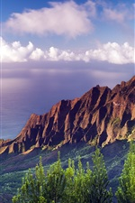 Preview iPhone wallpaper Na Pali Coast State Park sunset at Hawaii