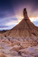 Preview iPhone wallpaper Northern Spain, The Bardenas Reales National Park, mountain, sunset