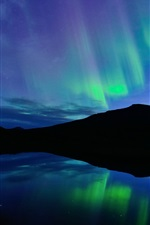 Preview iPhone wallpaper Norway, night, Northern lights, blue, lake, water reflection
