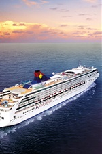 Preview iPhone wallpaper Passenger ship, sea, clouds, dawn