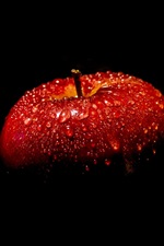 Red apple, black background