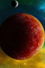 Preview iPhone wallpaper Red planets, space color