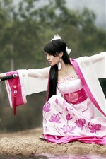 Preview iPhone wallpaper Samurai katana girl beautiful dress