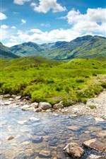 Preview iPhone wallpaper Scotland nature scenery, mountains, grass, stream, rocks, water, valley, clouds