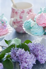 Preview iPhone wallpaper Sweet food, meringue dessert, cream, flowers