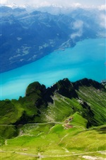 Preview iPhone wallpaper Switzerland, Alps, Rothorn, Lake Brienz, grass, green