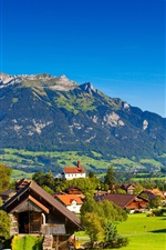Preview iPhone wallpaper Switzerland, Alps, mountains, summer, nature, greenery, houses