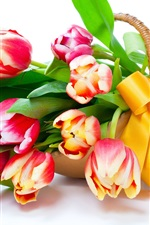 Preview iPhone wallpaper Tulips, flowers, basket
