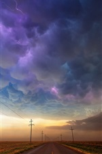 Preview iPhone wallpaper USA, Texas, road, storm clouds, lightning